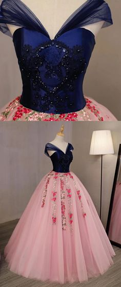 Pink tulle prom dress, V neck long beaded evening dress, navy blue appliques prom dress Prom Dresses For Teens, Long Prom Gowns, Ball Gowns Prom, Black Prom Dresses, Lace Evening Dresses, Pretty Dresses, Beautiful Dresses, Formal Dresses, Long Dresses