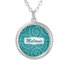 Blue White Swirls Personalized Name Necklace Blue and white retro artsy artistic fun funky flourish swirl pattern with customizable nameplate for your name or monogram. Cool trendy girly modern elegant cute graphic design.