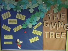 The Giving Tree bulletin board...tips on how to live a green life.