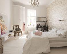 Это маленькая очень светлая чистая спальня в скандинавском стиле с простой деревенской мебелью и теплым освещением (нажмите, чтобы увеличить)