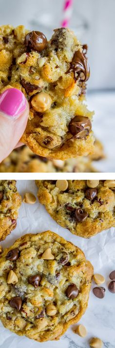 These Texas Cowboy (Cow Chip) cookies are crispy on the edges but chewy and moist in the middle, and have a hundred mix-ins (Pecans! Chocolate! Corn Flakes! Coconut!) that combine to make the Texas of all cookies. Corn Flake Cookies, Corn Flake Bars, Candy Corn Cookies, Moist Chocolate Chip Cookies, Kfc Chocolate Chip Cake Recipe, Blondie Cookies Recipe, Chocolate Chips, Chocolate Smoothies, Chip Cookie Recipe