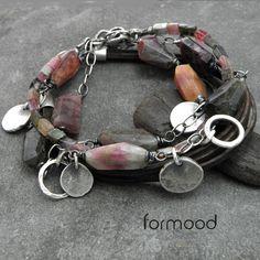 turmalin i zamszowy rzemień - zestaw dwóch bransoletek Biżuteria Bransolety formood