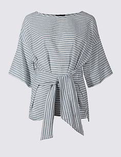 Image result for m&s front tie linen top