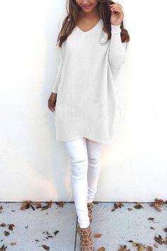 White V-neck Long Sleeves Mini Dress utm_source=pinterest&utm_medium=share&utm_content=LSY