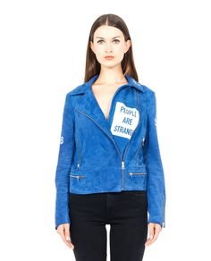 FIFTEEN AND HALF SUEDE BIKER JACKET S/S 2016 Blue suede biker jacket  reverse collar front asymmetric closure with zip  long sleeves with real zipper  front pockets  100% Sheep leather