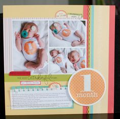 Blog shows 1 month - 12 months scrapbook layouts