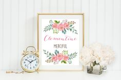 Pink Watercolor Floral Name and meaning, girl nursery decor, monogram nursery art, customized monogram,Gray Frames digital print by GrayFrames on Etsy