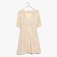 """What can we say? Little strawberries are just really, really cute. We're also pretty attached to this silk dress with nod-to-vintage details like tiny covered buttons and smocked sleeves. Falls 35 7/8"""" from high point of shoulder.Silk.Lined.Dry clean.Import."""