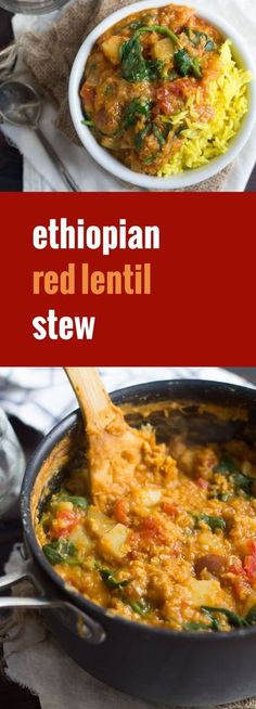 This flavorful stew of berbere spiced Ethiopian lentil stew is made with veggies and hearty potatoes simmered in a base of savory red lentils.