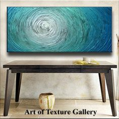 Stunning aqua, turquoise, silver and blue oil painting, via @Lauren Stark