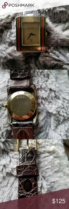 Authentic Gucci unisex watch Circa 1970 Needs a battery and a good cleaning. Been in storage for over 30 years. The band and the dial are in excellent shape but the face is a little bit rough. Not sure if the front case can be polished or not. However still a classic and I'll refund if anyone is not happy. Purchased in Italy leather Accessories Watches
