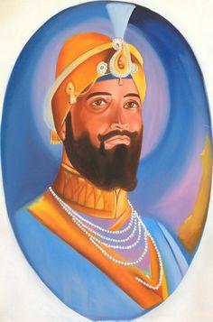 Guru Gobind Singh Art Hand Painted Oil on Canvas Sikh Portrait Ethnic Painting