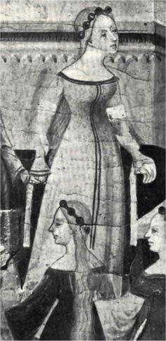 - OPUS INCERTUM - SAYA, GONELA (II) de Mujer hasta el siglo XIV Retablo de la Virgen y San Jorge, Luis Borrassá, 1400, Iglesia de San Francisco,
