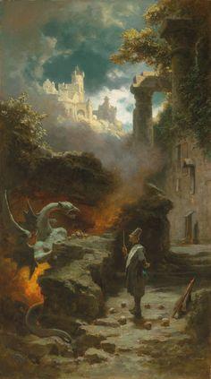Fantasy Concept Art, Fantasy Art, Moritz Von Schwind, Carl Spitzweg, Illustrator, The Warlocks, Dragon Images, Fantasy Paintings, High Fantasy