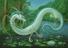 Haku from the movie Spirited away. Dunno who made this but looks awesome.