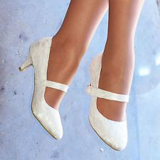 Ladies Ivory Bridal Shoe Mary Jane Strap Womens Low heel Wedding Court S30485