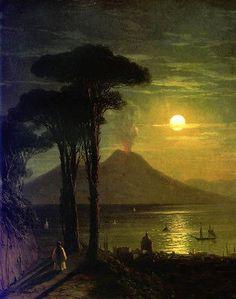 Óleo Ivan Constantinovich Aivazovsky The Bay de Nápoles em noite de lua Vesúvio