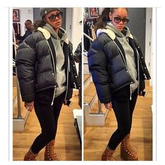 rhennasheaux: I'm standing in her living room and this how she walks up to me wearing my new favorite boot I died! I as what's on YA feet. Rihanna Daily, Rihanna Riri, I Miss Her, Winter Jackets, Navy, Living Room, Celebrities, Boots, Instagram Posts