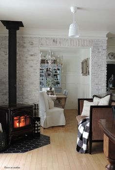 How to construct perfect DIY brick walls? - No matter you are looking to build a small patio DIY brick wall or an outside boundary wall for your house there are some basics that you must know be. Wood Stove Decor, Corner Wood Stove, Outdoor Wood Furnace, Brick Interior, Brick Fireplace Makeover, Living Room Inspiration, Interior Inspiration, Living Room With Fireplace, Diy Patio