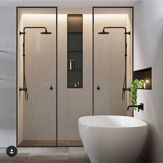 Double shower ideas in this modern and minimalist bathroom design Bathroom Toilets, Laundry In Bathroom, Bathroom Black, Master Bathroom, Shower Bathroom, Shower Rooms, Master Shower, Bathroom Faucets, Basement Bathroom