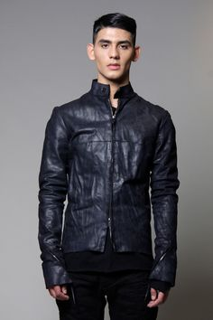Midnight Blue Biker Leather Jacket – The Archive