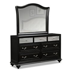 Marilyn black Bedroom Dresser features silver hardware and faux croc panels.
