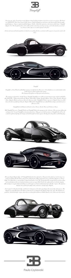 The Bugatti Gangloff Concept is a design study of a sleek supercar inspired by the 1938 Type 57 SC Atalante Coupe one-off...