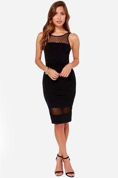 #SALE LULUS Exclusive Midi Slicker Black Midi Dress Shop the #SALE at #Lulus