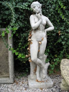 Aphrodite (?) Stone Statues, Gods And Goddesses, Aphrodite, Garden Sculpture, Greek, Poses, Photography Ideas, Outdoor Decor, Image