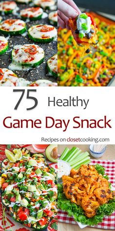 75 Healthy Game Day Snacks - - A collection of the best healthy recipes on Closet Cooking for watching the game. whether you are throwing a party at home or you are out tailgating! Healthy Superbowl Snacks, Game Day Snacks, Tailgating Recipes, Tailgate Food, Snacks Für Party, Game Day Food, Healthy Appetizers, Appetizer Recipes, Snack Recipes