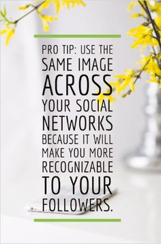 Pro tip: Use the same image across your social networks because it will make you more recognizable.