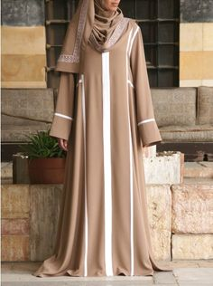 Skillfully tailored and beautifully styled, the two piece Embroidered Abaya from Shukr Frock Fashion, Abaya Fashion, Muslim Fashion, Modest Fashion, Fashion Dresses, Burqa Designs, Abaya Designs, Hijab Style Dress, Abaya Style