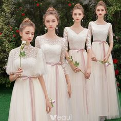 Discount Champagne See-through Bridesmaid Dresses 2019 A-Line / Princess Sash Appliques Lace Floor-Length / Long Ruffle Backless Wedding Party Dresses Pink Wedding Dresses, Bridal Dresses, Wedding Gowns, Elegant Dresses, Nice Dresses, Cocktail Vestidos, Bridesmaid Robes, Lace Bridesmaids, Bridesmaid Dresses With Sleeves