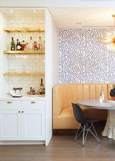 breakfast nook with brass+marble bar   via coco+kelley