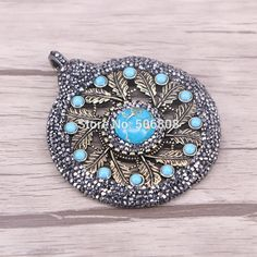 6PCS Antique Bronze Large Round Lace Carved Flowers Charms Pendants Inlay Howlite Beads and Pave Crystal Jewelry ZYZ160 0511 -in Pendants from Jewelry & Accessories on Aliexpress.com | Alibaba Group