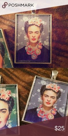 """Frida Kahlo portrait pendant necklace or keychain Beautiful Frida Kahlo portrait Pendant. String it on a chain to wear as a necklace, or add it to your keyring. Not UO. Other Frida designs also available.  ❤️Glossy finish ❤️Antiqued silver-tone pendant measures 25mm x 35mm (approx. 1"""" x 1.5"""") ❤️Pendant only; chain NOT included ❤️Great for holiday gifting!! ❤️Price is firm unless bundled 🚫Trades 🚫Modeling  Also available on Etsy @TotallyTwitterpated ModCloth Jewelry Necklaces"""