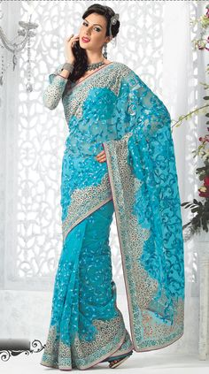 Turquoise Blue Color Saree