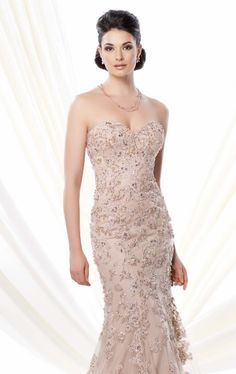 Let all eyes be on you in Ivonne D Exclusively for Mon Cheri 214D51. This fabulous evening gown features strapless sweetheart neckline and mid back designs. Embellished with ravishing lace beads on the bodice. A mermaid skirt will make you look adorable. Shawl and Removable Straps Included.