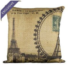 Linen-blend pillow with a Paris ferris wheel motif.    Product: PillowConstruction Material: Linen-blend cover and polyester fillColor: MultiFeatures: Insert includedHandmade by TheWatsonShop Envelope closureHandmade in the USAEco-friendly inks Dimensions: 16 H x 16 WCleaning and Care: Hand wash with mild detergent. Lay flat to dry. Cool iron if necessary.