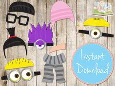 INSTANT DOWNLOAD - DESPICABLE Me Inspired Photobooth Props Printable on Etsy, $3.70 AUD