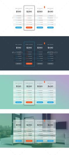 Clean Flat Pricing Tables Pricing table, Template and Ui ux - comparison grid template
