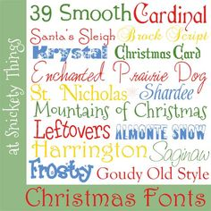 Favorite Christmas fonts at Snickety Things