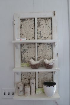 Rustic shelves made from antique windows. Mirrors also made by Unique Windows and Doors