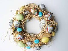 Peter Rabbit Easter Egg and Raffia Wreath. $25.00, via Etsy.