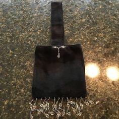 Hand Made Purse Black Velvet with bead detail small purse Bags Mini Bags
