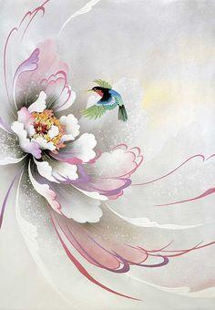 ru / Фото - Modern works by Japanese - ashrei - Gallery.ru / Фото – Modern works by Japanese – ashrei - China Painting, Fabric Painting, Watercolor Flowers, Watercolor Paintings, Pintura Graffiti, Illustration Blume, Japanese Art, Asian Art, Painting Inspiration