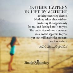 Nothing happens in life by accident, nothing occurs by chance. Nothing takes place without producing the opportunity for real and lasting benefit to you. The perfection of every moment may not be apparent to you, yet that will make the moment no less perfect. — Neale Donald Walsch