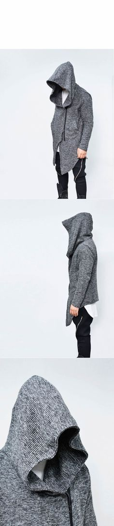 Outerwear :: Jackets :: Oversized Hood Unbalance Knit Jacket-Hoodie 149 - Mens Fashion Clothing For An Attractive Guy Look
