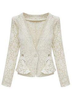 White Long Sleeve Hollow Lace Crop Jacket - Sheinside.com