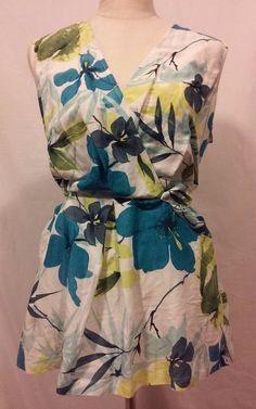 Sharon Young Women's Aloha Sleeveless Top Blues Multi-color Tie Back Size 10 EUC #SharonYoung #Blouse #Casual
